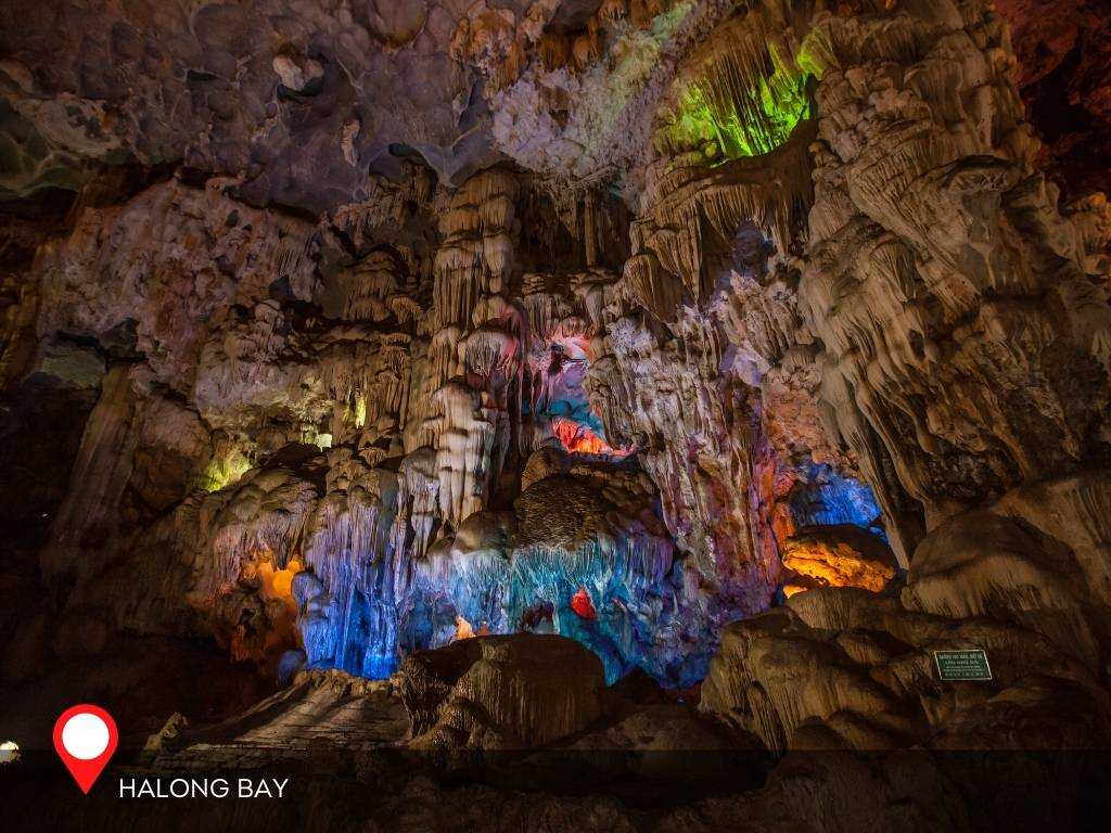 Caves in Halong Bay, Vietnam