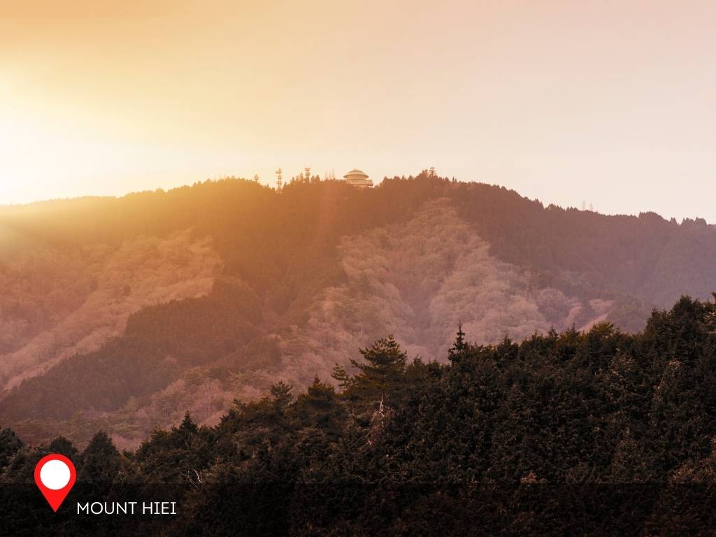 Mount Hiei sunset view from Kyoto, Kyoto, Japan