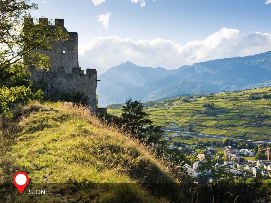 Courtyard of Tourbillon Castle, Sion, Valais, Switzerland