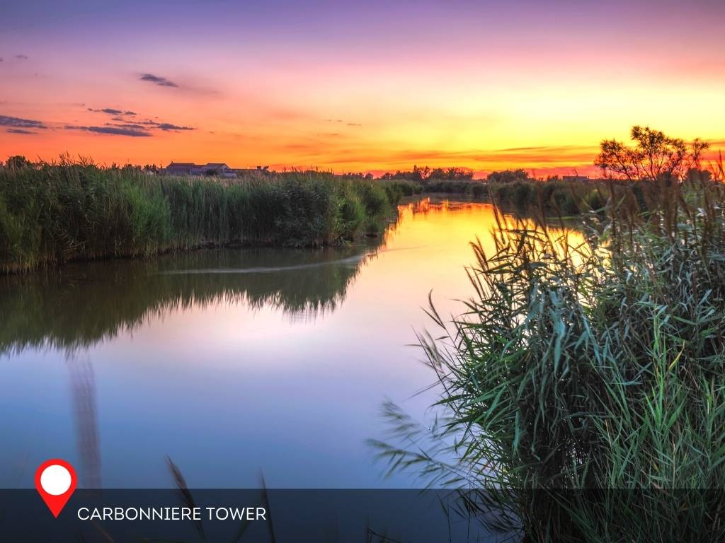 Sunset in Carbonniere Tower, Aigues-Mortes, France
