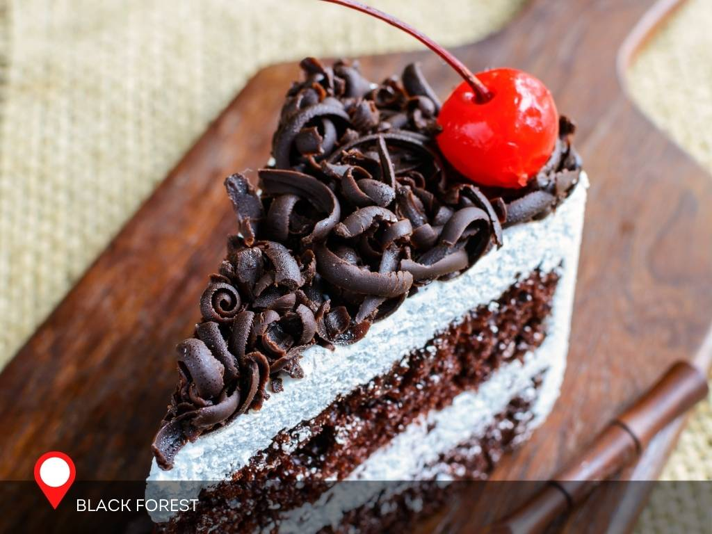 A slice of Black Forest Cake from Black Forest, Germany