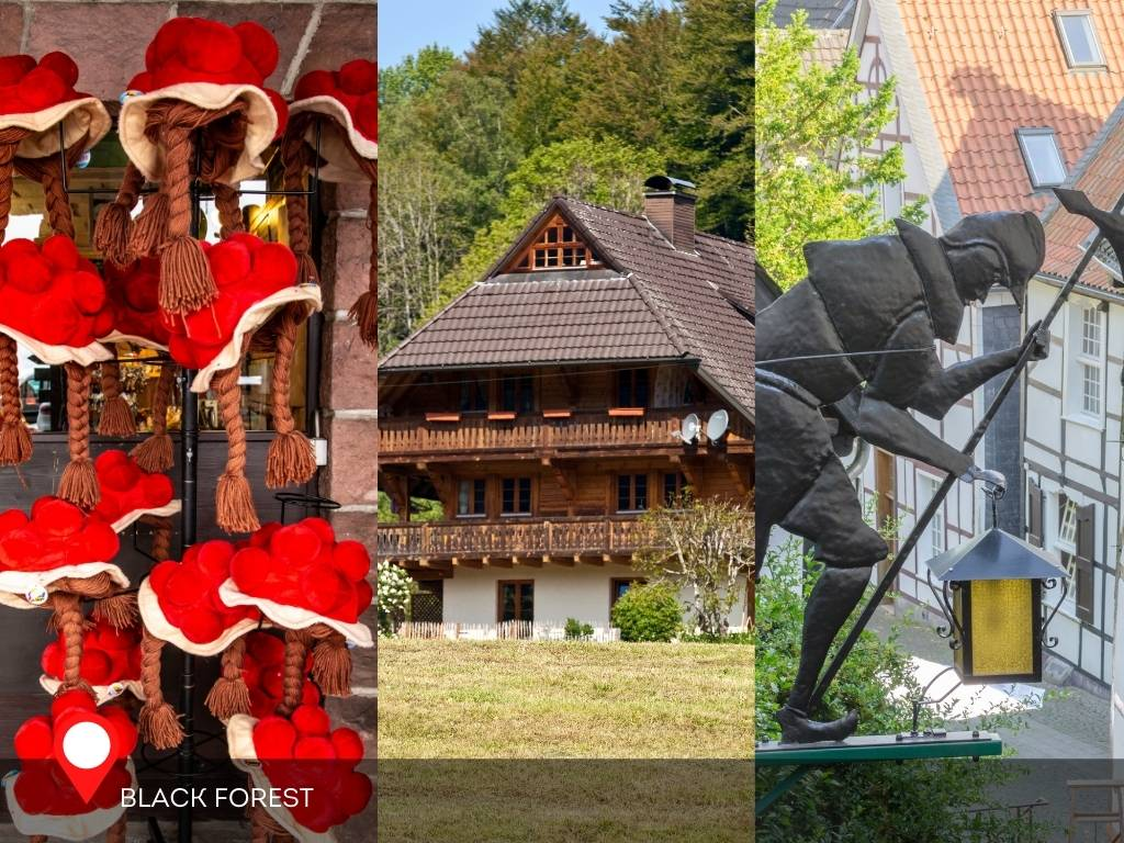 Bollenhut, Traditional House, Nightwatchman statue, Black Forest, Germany