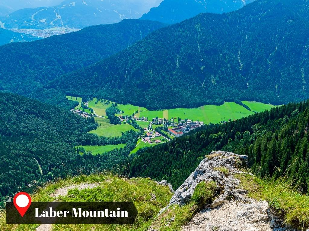 View of the town of Ettal from Laber Mountain, east of Oberammergau, Germany