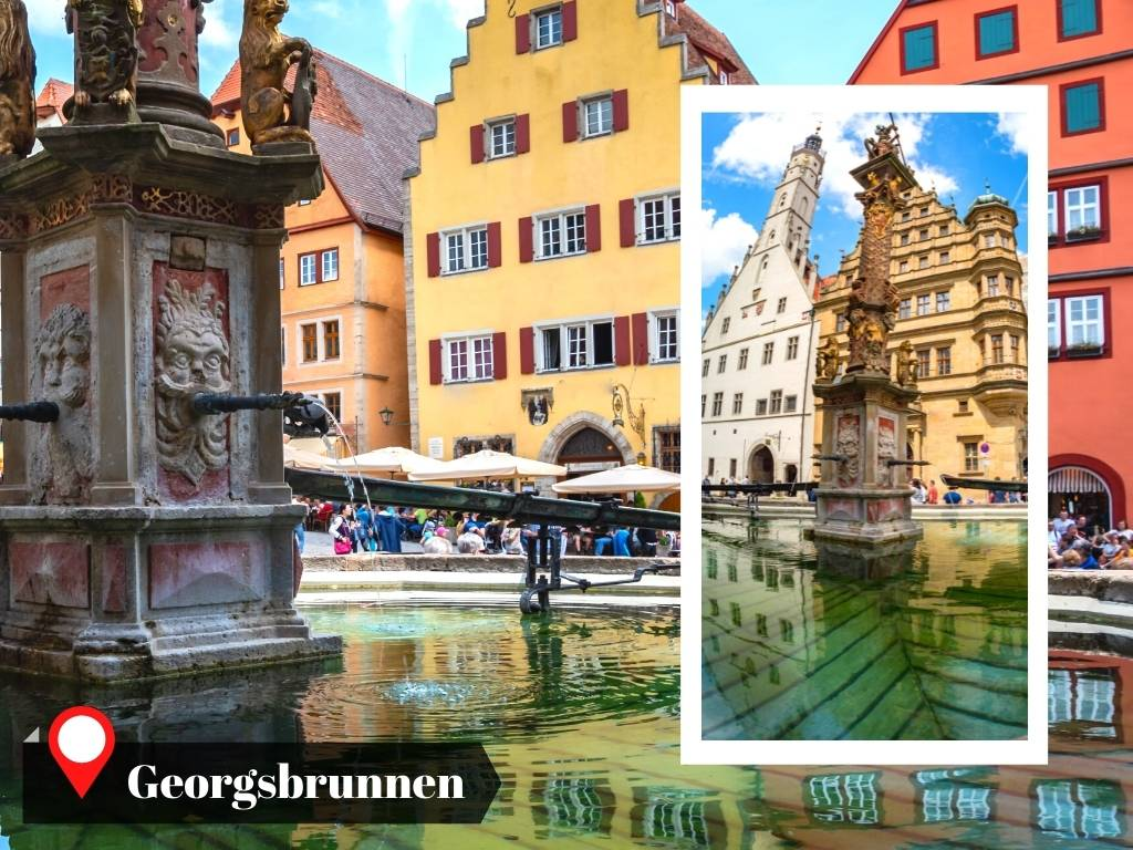 Saint George's Fountain water reflection, Rothenburg, Germany